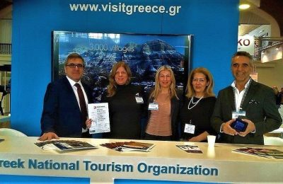 GNTO's secretary general, Konstantinos Tsegas and president, Charalambos Karimalis with the head of the GNTO office for the Czech Republic, Nikoletta Nikolopoulou and GNTO representatives Despina Ksilouri and Katerina Meimaroglou.