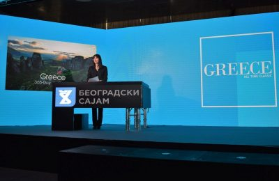 Greek Tourism Minister Elena Kountoura giving a speech during the Belgrade tourism fair's inauguration ceremony.
