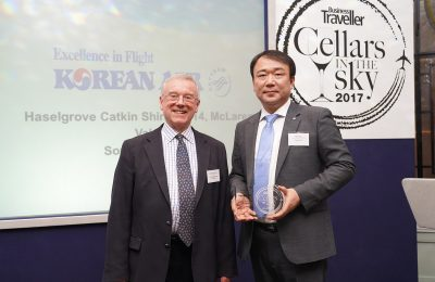 The co-chairman of the International Wine Challenge, Charles Metcalfe and the general manager of Korean Air London regional office, Jong Rae Kim.