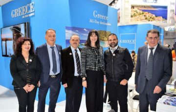 Greek Tourism Minister Elena Kountoura with the Mayor of Rhodes Fotis Hatzidiakos and tourism representatives from Karpathos at the Salon de Vacances exhibition in Brussels.