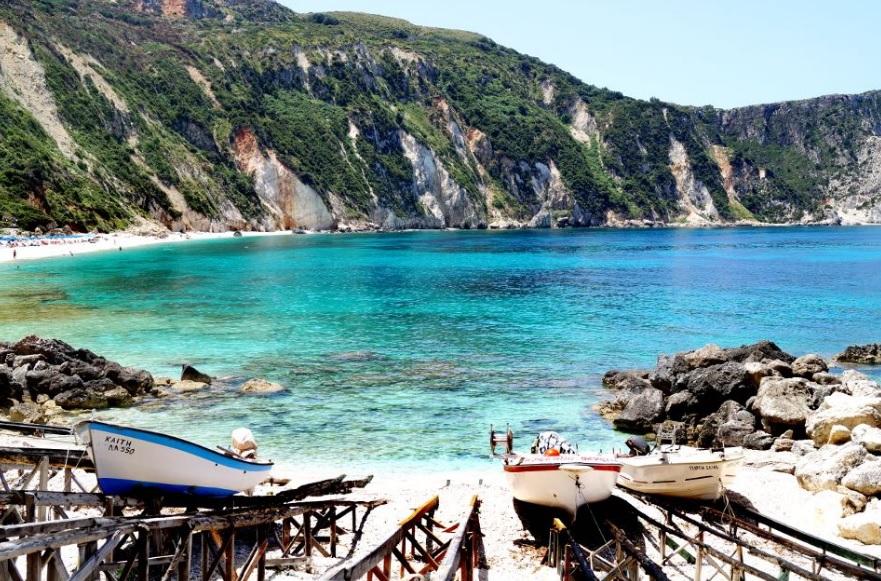 Petanoi Beach on the island of Kefallonia. Photo Source: https://kefaloniaisland.org