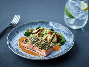 Salmon fillet with Asian noodles. Photo Source: Air Transat