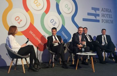 Secretary General for Tourism Policy and Development Georgios Tziallas at the Adria Tourism Forum with the Croatian Deputy Minister of Tourism, Frano Matusic; the Deputy Minister of Sustainable Development and Tourism of Montenegro, Damor Davodocic; and the Tourism Minister of Malta, Konrad Mizzi.