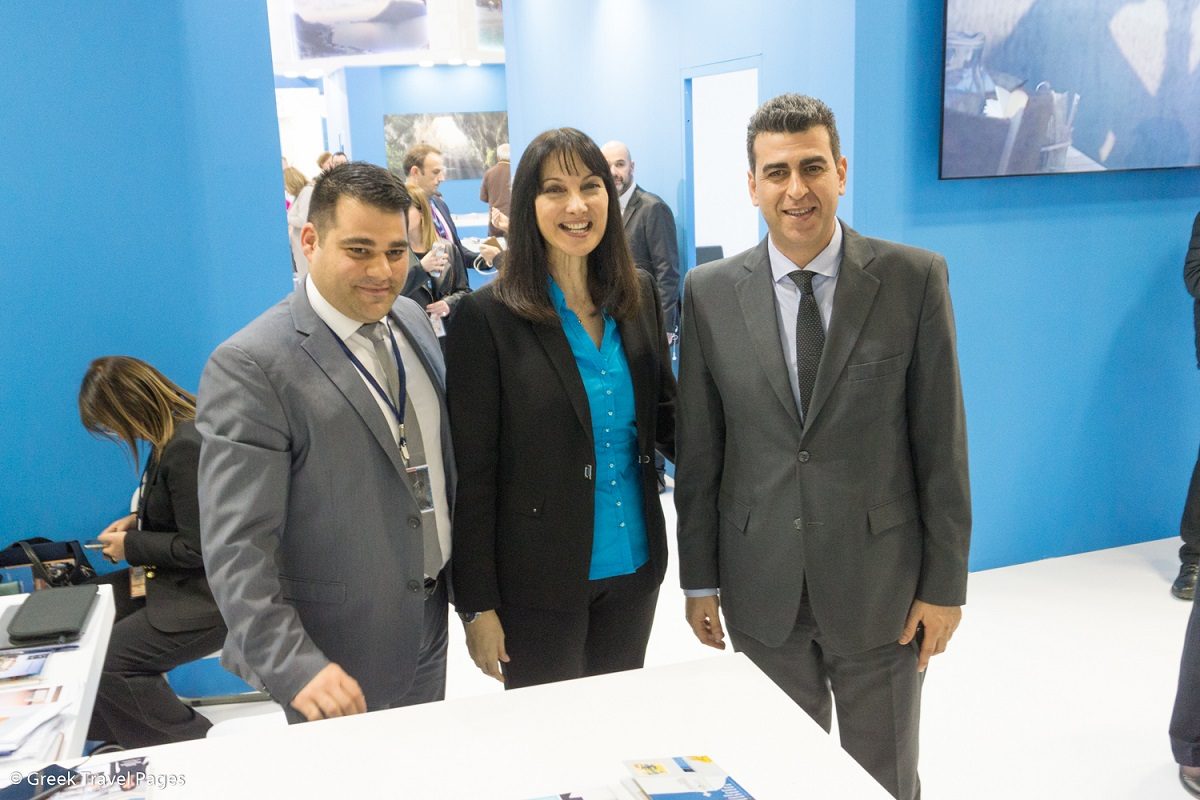 Manos Borboudakis, general manager of Santo Maris Oia Luxury Suites and Spa; Elena Kountoura, tourism minister; Nikos Sfakianakis; group senior sales manager of Maris Hotels.