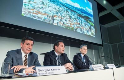 Athens Mayor Giorgos Kaminis, AEGEAN Vice President Eftichis Vassilakis and AEGEAN CEO, Dr Ioannis Paraschis.