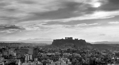 Ioannis Lambros, Panoramic view of Athens with the Acropolis in background, 1960
