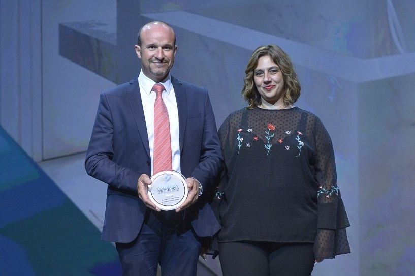 Opera Mansion owner Fanis Stratomitros and Aqua Vista Hotels group business development manager Sophia Matzourani received the silver award in the Architecture & Interior Design category (Renovation subcategory).