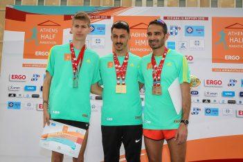 Athens Half Marathon 2018 winner (mens category): Kostas Gkelaouzos (center). Photo © Athens Half Marathon