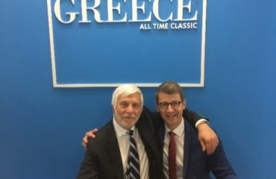 Peloponnese governor Petros Tatoulis and WTFL CEO Martin Barth.