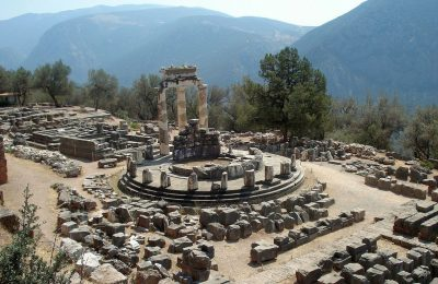 Delphi on Mount Parnassos and the valley that leads to the coastal town of Itea.