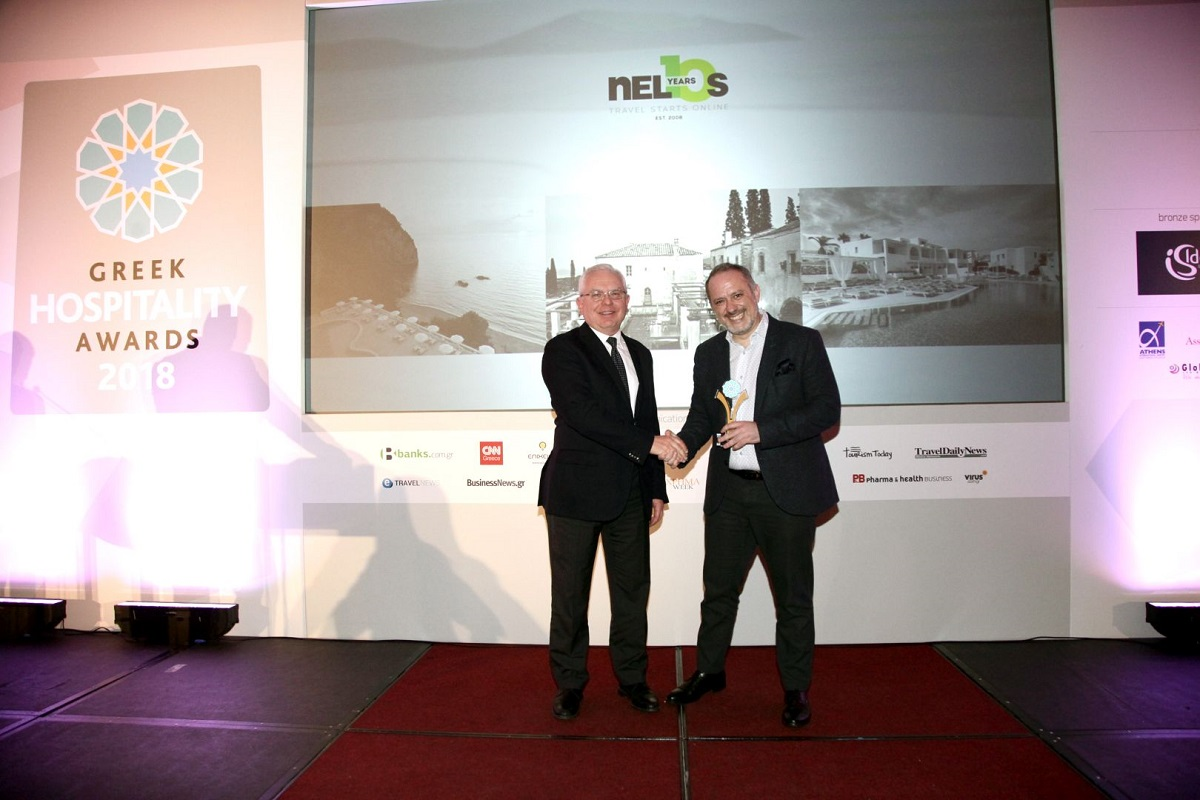 Nelios CEO Dimitris Serifis received the company's accolades at the Greek Hospitality Awards 2018.