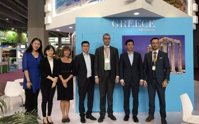 Head of the GNTO office in China Ioannis Pleksousakis; China Southern Airlines vice president Zhou Tieying; consul general of Greece to Guangzhou Grigoris Tassiopoulos.