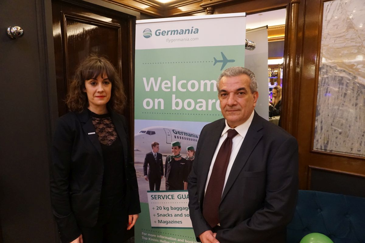 Germania International Sales Manager Marta Alvarez-Rey and Top Kinisis Hellas General Manager George Antonaros.