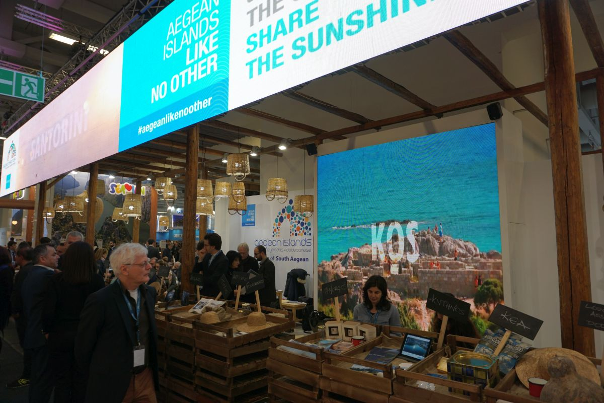 ITB Berlin 2018. Expo guests in Greek stand.