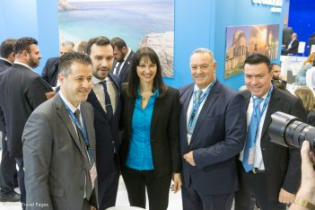 Greek Tourism Minister Elena Kountoura at the Halkidiki stand at ITB Berlin 2018.