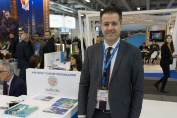 President of Hellenic Hoteliers Federation and Halkidiki Tourism Organization Grigoris Tasios at ITB Berlin 2018.