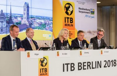 Dr. Christian Göke, Chief Executive Officer, Messe Berlin GmbH; Manuela Schwesig, Minister president Mecklenburg-Vorpommern; Dr. Michael Frenzel, President, German Tourism Industry Federation; and Norbert Fiebig, President, German Travel Association.