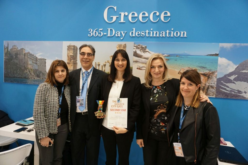 Viki Stroumpou, Head of GNTO office in Germany; Petros Saganas, GNTO Market Research and Advertising Director; Elena Kountoura, Greek Tourism Minister; Aggeliki Chondromatidou, GNTO Vice President; and Eleftheria Fili, Head of the Publications and Audiovisual Department.