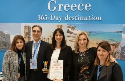 Viki Stroumpou, Head of GNTO office in Germany; Petros Saganas, GNTO Market Research and Advertising Director; Elena Kountoura, Greek Tourism Minister; Aggeliki Chondromatidou, GNTO Vice President; and Eleftheria Fili, Head of the Publications and Audiovisual Department. Photo © Greek Travel Pages