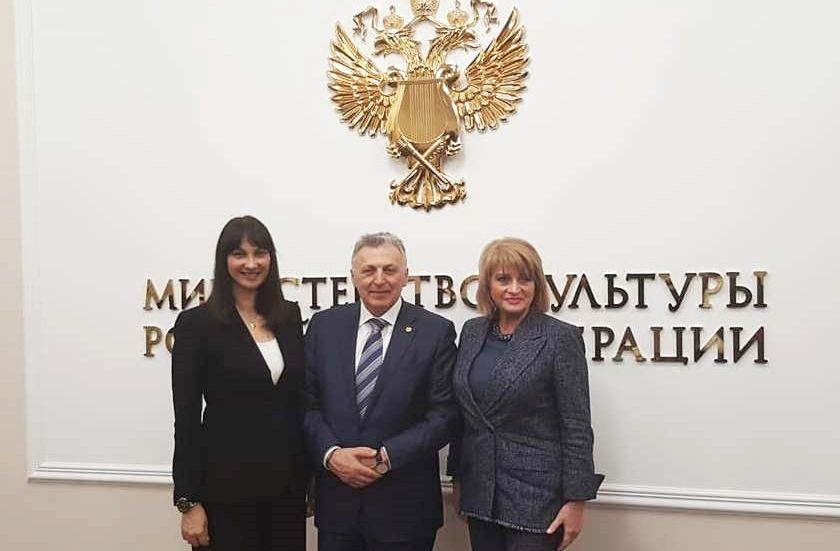 Greek Tourism Minister Elena Kountoura; Mouzenidis Group President Boris Mouzenidis and Russian Alternate Culture Minister Alla Manilova.