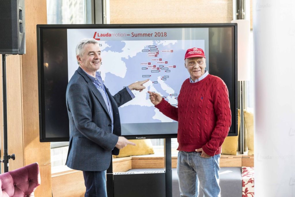 Ryanair CEO Michael O'Leary and Laudamotion Chairman Niki Lauda.
