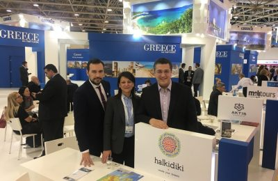 Central Macedonia Vice Governor for Tourism and Culture Alexandros Thanos; HTO Marketing Director Tania Akritidou and Governor of Central Macedonia Region Apostolos Tzitzikostas.