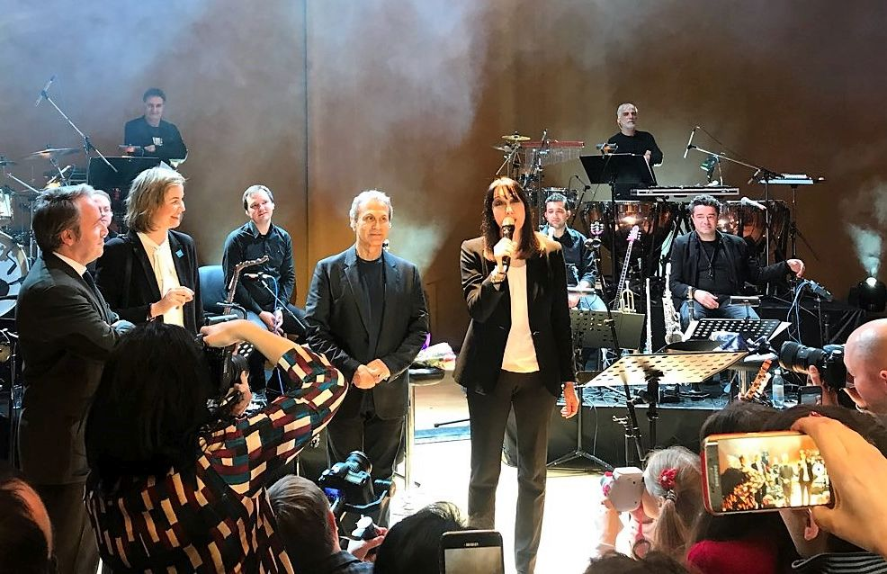Greek Tourism Minister Elena Kountoura with Greek singer Giorgos Dalaras and the Greek Ambassador to the Russian Federation, Andreas Fryganas, on stage during the launch of the Greece-Russia Year of Tourism 2017-2018 initiative.