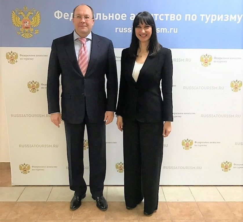 Head of Rosturizm, Oleg Safonov and Tourism Minister Elena Kountoura.
