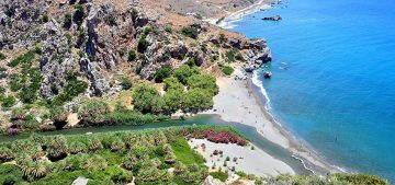 River Kourtaliotis and Preveli Beach, Crete. Photo Source: www.incrediblecrete.gr