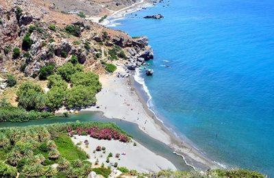 River Kourtaliotis and Preveli Beach, Crete. Photo Source: www.incrediblecrete.gr
