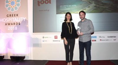 Tool CEO Kostas Karachalios received the award from Maria Theofanopoulou, president and CEO of GTP/Danae Travel & Media Group.