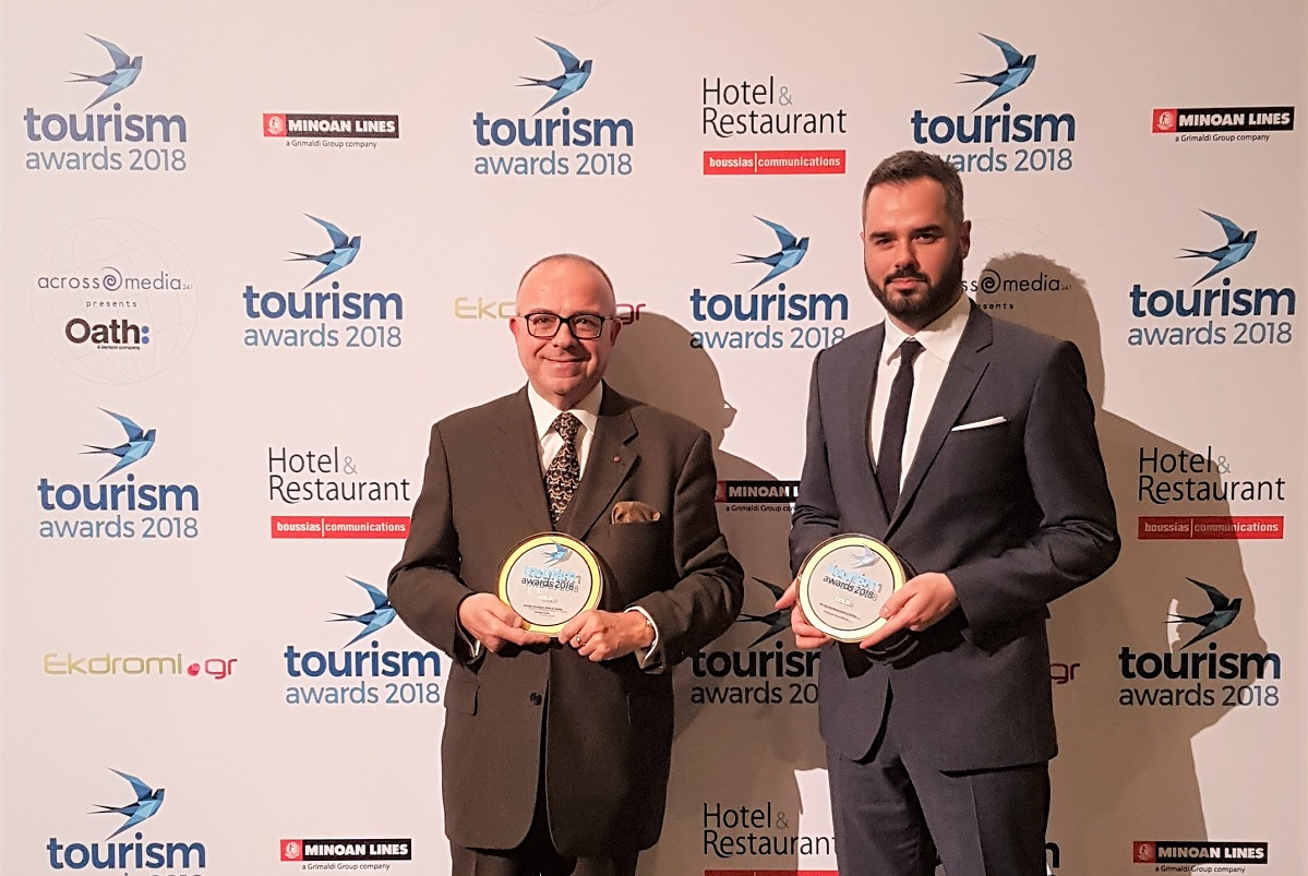 Kenshō Boutique Hotel & Suites general manager Kostas Papachristoforou and marketing manager Nikolaos Katsaros.