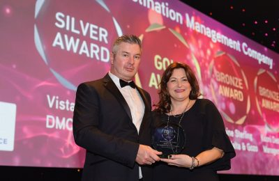 Vista Events Greece director of sales and marketing Rena Gkini received the award. Photo Source: M&IT Awards