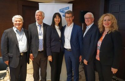 GNTO Alternate Secretary General Giannis Goulios, Peloponnese Region Governor Petros Tatoulis, Greek Tourism Minister Elena Kountoura, WTFL Think Tank CEO Martin Barth, WTTC Head Gerald Lawless and Peloponnese Region Tourism Consultant Antonia Bouza.