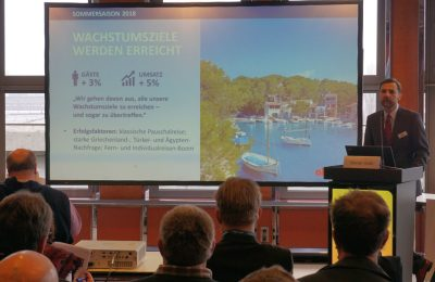 Alltours Head of Corporate Communications Goran Goic speaking during the company's press conference at ITB Berlin: