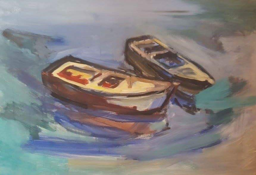 """Boats II"", oil on canvas by Stavros Diakoumis, 2016."