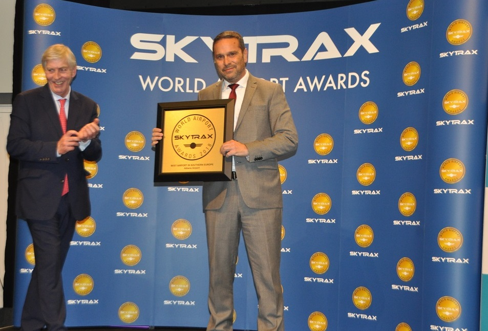George Zervoudis, terminal services manager at Athens International Airport received the Skytrax World Airport Award.
