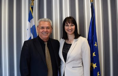 Eleftherios Michaelides, president of Greece's association of prosecutors and Elena Kountoura, Greek Tourism Minister.