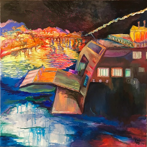 Eleni Politopoulou, Arrival, 2018, mixed media on canvas, 100x100cm