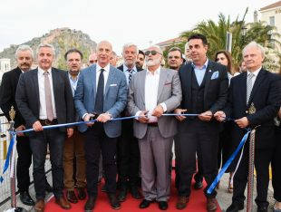 Shipping MInister Panagiotis Kouroublis cuts the ribbon of the 5th MEDYS 2018. Photo: Ministry of Shipping (Katerina Nomikou Maritime Photography)