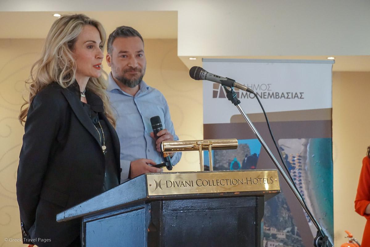 Sonia Saltsidi and Markos Dontas from Lectus adv. agency, presenting Monemvasia's new logo.
