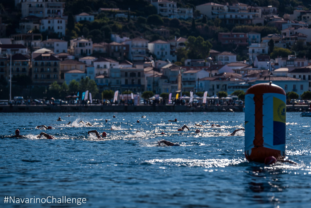 The 1 mile swimming route of Navarino Challenge at the Navarino Bay, at Pylos port (photo by Elias Lefas)