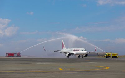 Qatar Airways Airbus A320 was welcomed to Thessaloniki International Airport