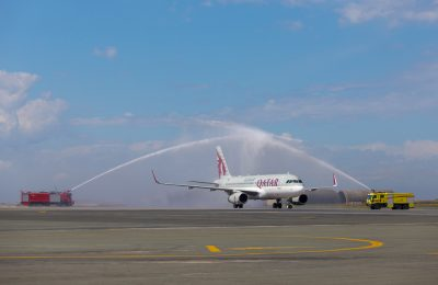 Qatar Airways Airbus A320 was welcomed to Thessaloniki International Airport