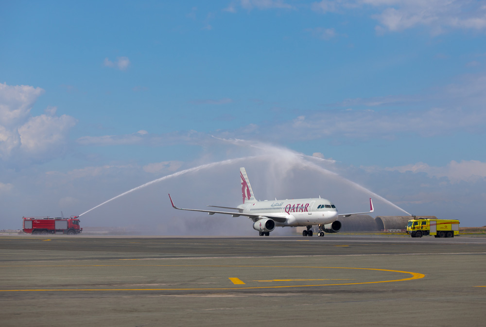 "Qatar Airways Airbus A320 was welcomed to Thessaloniki International Airport ""Makedonia"" with a traditional water cannon salute. Photo by by Vassilis Sfakianopoulos"