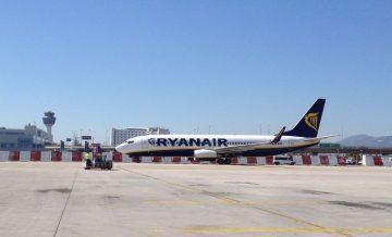 A Ryanair aircraft at Athens International Airport.