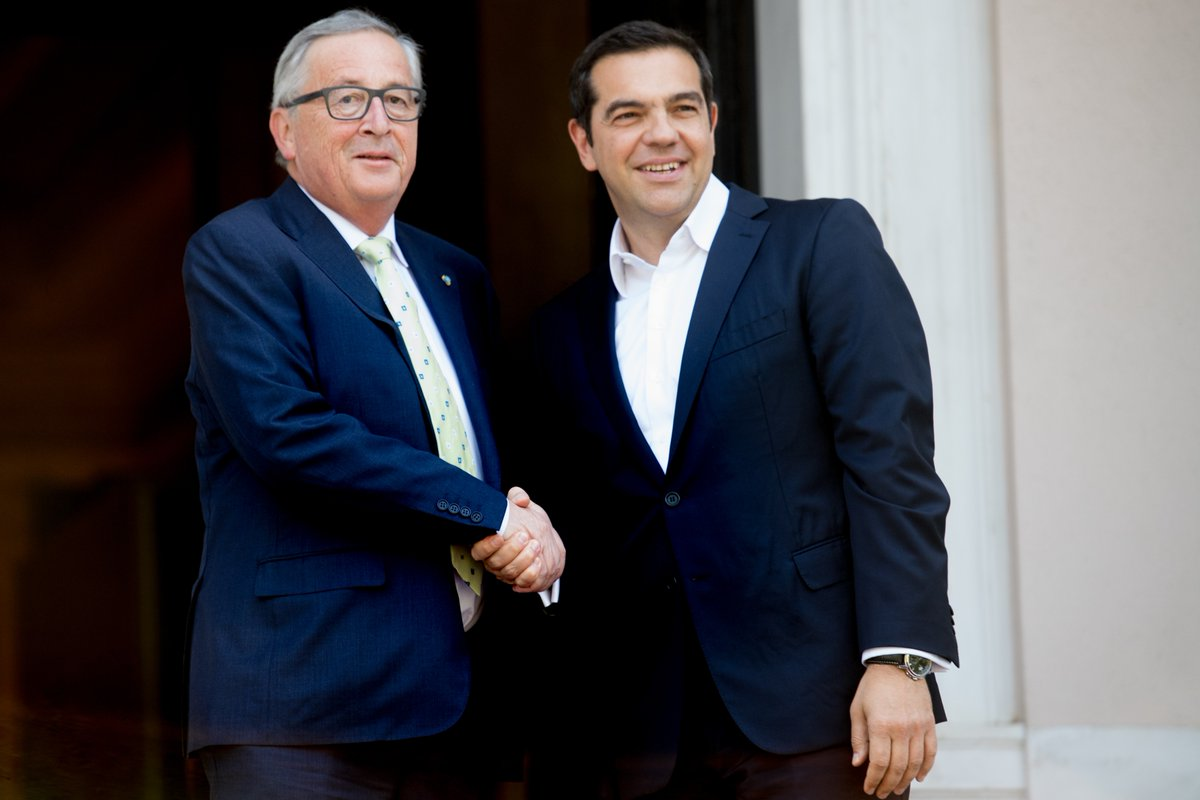 European Commission President Jean-Claude Juncker and Greek Prime Minister Alexis Tsipras.
