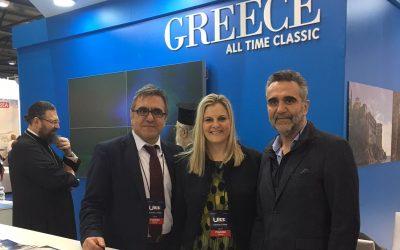 GNTO's secretary general, Konstantinos Tsegas and president, Charalambos Karimalis, with the Secretary General of Tourism Evridiki Kourneta.
