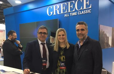 GNTO's secretary general, Konstantinos Tsegas and president, Charalambos Karimalis, with the Secretary General of Tourism Evridiki Kourneta.