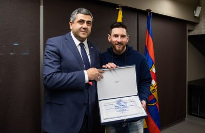 UNWTO Secretary-General Zurab Pololikashvili and footballer Lionel Messi. Photo source: UNWTO